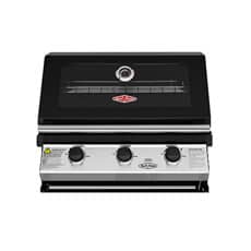 BeefEater Discovery 1200E Series 3 Burner Black Enamel Hood Built In Gas BBQ