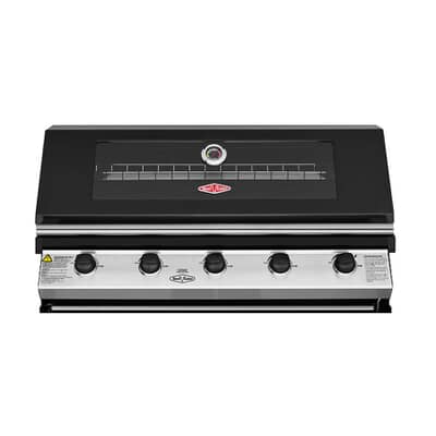 BeefEater Discovery 1200E Series 5 Burner Black Enamel Hood Built In Gas BBQ