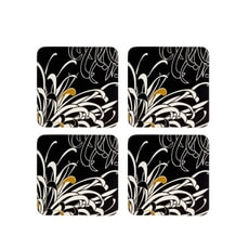 Denby Monsoon Chrysanthemum Charcoal Coasters Set Of 4