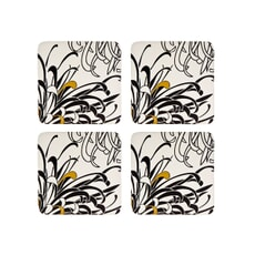 Denby Monsoon Chrysanthemum Cream Coasters Set Of 4