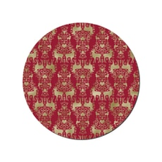 Denby Red And Gold Round Christmas Placemats Set Of 6