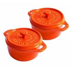 Staub Ceramic 10cm Cocotte Orange Set Of 2