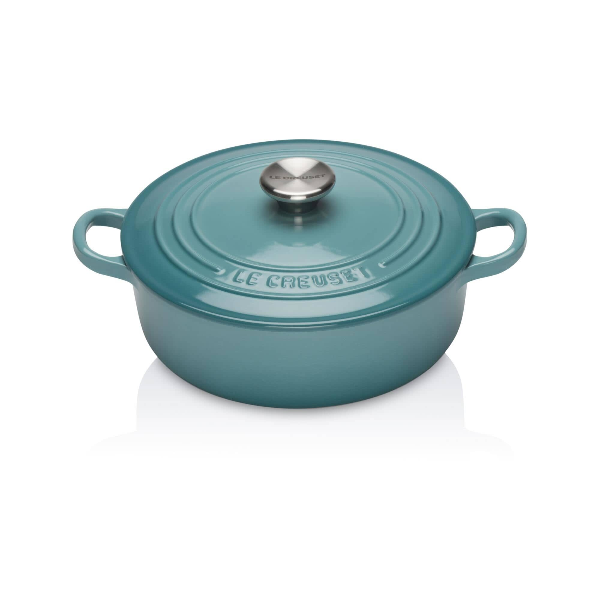 Le Creuset Cast Iron 22cm Risotto Pot Teal - (210522217) - eCookshop