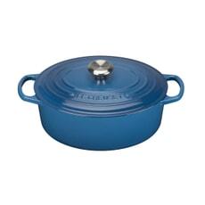 Le Creuset Signature Cast Iron 27cm Oval Casserole Marseille Blue