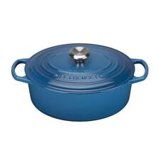 Le Creuset Signature Cast Iron 31cm Oval Casserole Marseille Blue