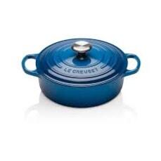 Le Creuset Signature Cast Iron 24cm Round Chefs Pan Marseille Blue