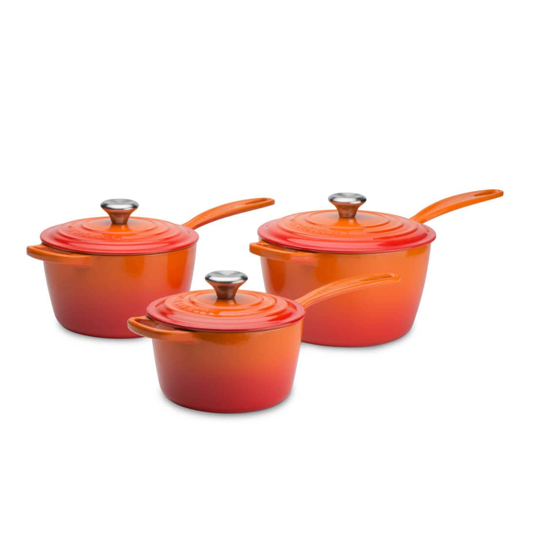 le creuset signature cast iron 3 piece saucepan set. Black Bedroom Furniture Sets. Home Design Ideas