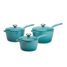 Le Creuset Signature Cast Iron 3 Piece Saucepan Set Teal