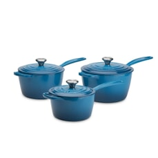 Le Creuset Signature Cast Iron 3 Piece Saucepan Set Marseille Blue