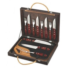 Tramontina Churrasco 13 Piece BBQ Set In Case - Dark Wood
