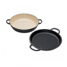Le Creuset Signature Cast Iron Shallow Casserole with Grill Lid Black