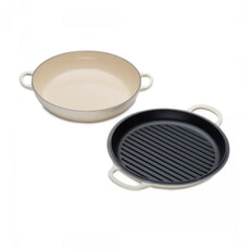 Le Creuset Signature Cast Iron Shallow Casserole with Grill Lid Almond