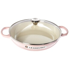 Le Creuset Cast Iron 30cm Shallow Casserole (With Glass Lid) Chiffon Pink