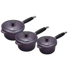 Le Creuset Cast Iron 3 piece Saucepan Set Cassis