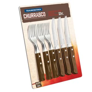 Tramontina Churrasco Set of 12 Steak Knives and Forks Brown
