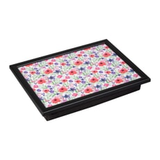 Denby Lap Trays - Watercolour Floral With Black Edge