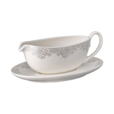 Denby Monsoon Filigree Silver Sauceboat And Stand