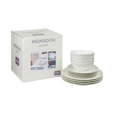 Denby Monsoon Filigree 12 Piece Tableware Set