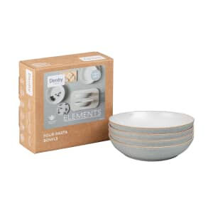 Denby Elements Light Grey 4 Piece Pasta Bowl Set