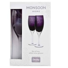 Denby Monsoon Cosmic White Wine Glasses Set Of 2