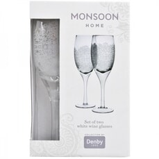 Denby Monsoon Filigree Silver White Wine Glass Set Of 2