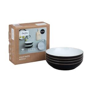 Denby Elements Black 4 Piece Pasta Bowl Set