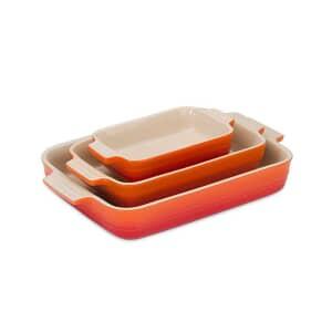 Le Creuset 3 Piece Classic Rectangular Baking Dish Volcanic