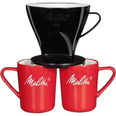 Melitta Pour Over Bundle 2 Mugs And Black Plastic Filtercone