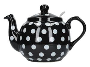 London Pottery Farmhouse® 4 Cup Teapot Black With White Spots