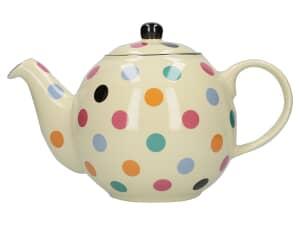 London Pottery Globe® 6 Cup Teapot Ivory With Multi Spots