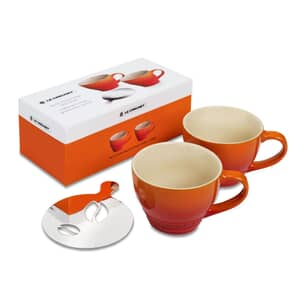 Le Creuset Set Of 2 Grand Mugs Volcanic With Bean Stencil
