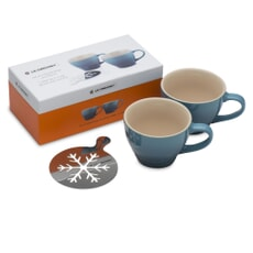 Le Creuset Set of 2 Grand Mugs and Snowflake Stencil Marine