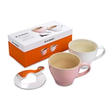 Le Creuset Set Of 2 Grand Mugs Chiffon Pink And Cotton With Heart Stencil