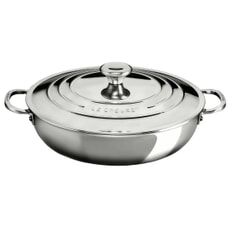 Le Creuset Signature Stainless Steel 30cm Uncoated Shallow Casserole + Lid