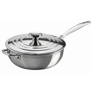 Le Creuset Signature Stainless Steel 24cm Non Stick Chefs Pan With Lid
