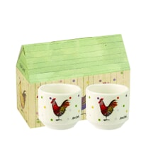 Alex Clark Rooster Set Of 2 Egg Cups Gift Boxed