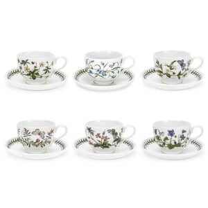 Portmeirion Botanic Garden - Tea Cup and Saucer (Traditional) Set Of 6