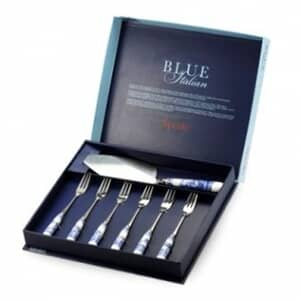 Spode Blue Italian - Cake Slice and 6 Pastry Forks