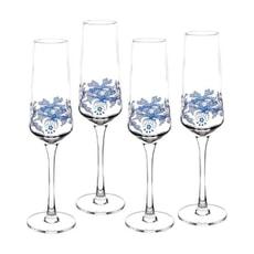 Spode Blue Italian Champagne Flutes Set 4