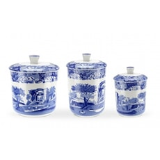 Spode Blue Italian - Canisters Set Of 3