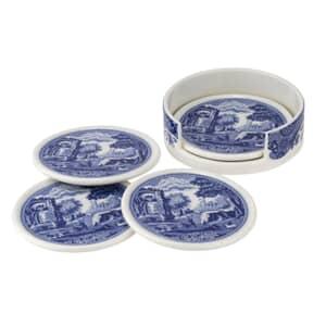 Spode Blue Italian - Ceramic Coasters With Holder