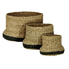 Murmur Seagrass Baskets Trio (Sml Med And Lrg) Natural/Black