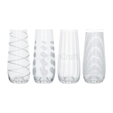 Mikasa Cheers Pack Of 4 Stemless Flute Glasses 230ml