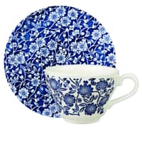 Queens Blue Story Victorian Calico Teacup And Saucer Set Of 4