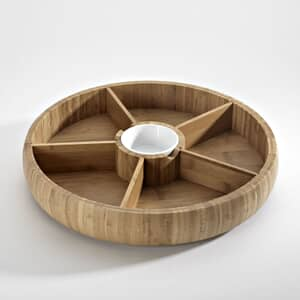 Occasion Bamboo Rotating Chip And Dip Platter