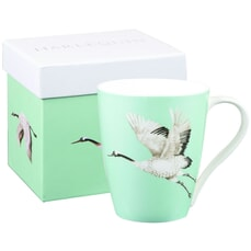 Churchill China Harlequin Aspen Palmetto Cranes Emerald Mug