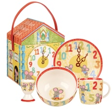 Churchill Little Rhymes - Hickory Dickory Dock 4 Piece Breakfast Set