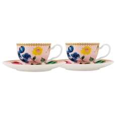Maxwell and Williams Teas and Cs Contessa Set of 2 Demi Cup And Saucers Ros