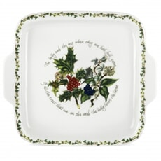 Portmeirion Holly and Ivy - Square Handled Cake Plate