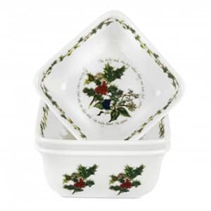 Portmeirion Holly and Ivy - Square Mini Dishes Set Of 3